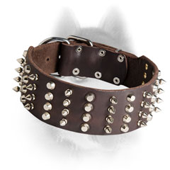 2 Inch Extra Wide Leather Siberian Husky Collar with Spikes and Pyramids