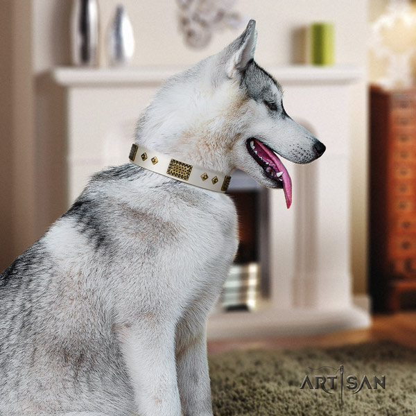 Siberian Husky full grain leather dog collar with decorations for handy use