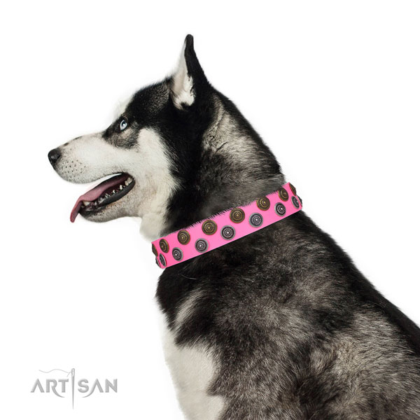 Siberian Husky unique leather dog collar for handy use