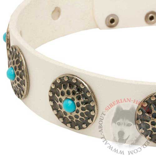 Blue Stones Hand Set on Leather White Siberian Husky Collar