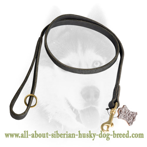 Functional Leather Siberian Husky Leash for Tracking And Walking