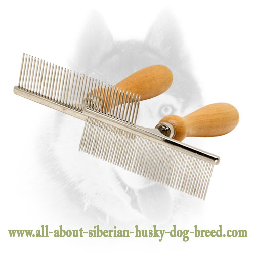 Siberian Husky Hair Designer Comb With Wooden Handle Ka15 1041