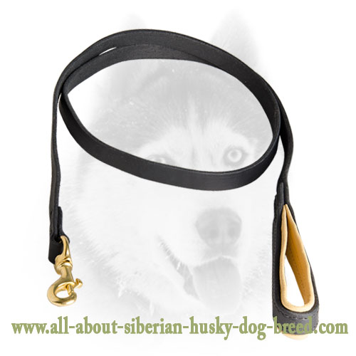 Extremely Comfortable Leather Nappa Padded Siberian Husky Leash