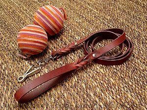 Leather Siberian Husky leash with scissors type snap hook
