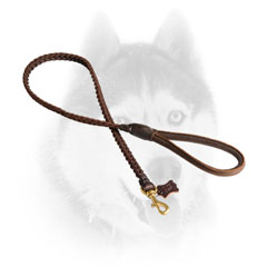 Comfy braided leather Siberian Husky line with round handle