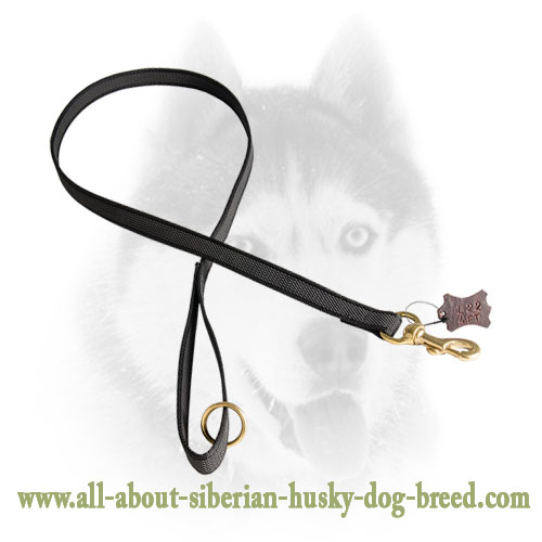 Siberian Husky Nylon Leash with Brass Snap Hook and O-ring