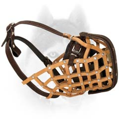 Leather basket Siberian Husky muzzle