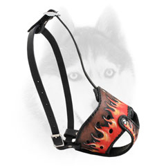 Fire Flames painted leather Siberian Husky muzzle