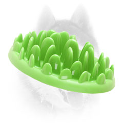 Interactive gren grass shaped Siberian Husky feeder