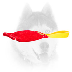 Pocket toy of French Linen with a comfy handle for Siberian Husky