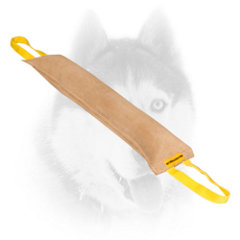 Quality Siberian Husky training tug of leather with handles
